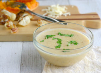 Roasted cauliflower, cheddar and squash soup