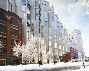 Sustainable architecture by Bjarke Ingels in Toronto in winter